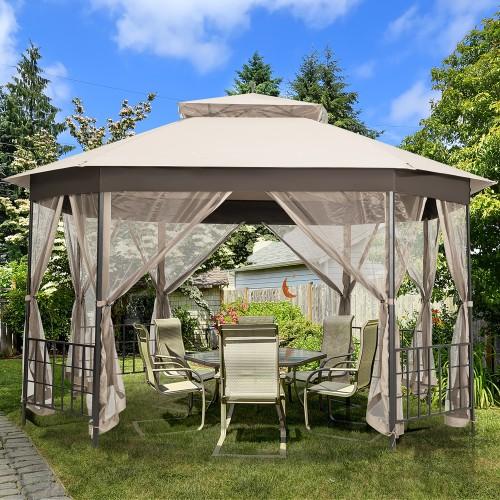 Costway 10'x12' Patio Gazebo Canopy Shelter Double Top Netting Sidewalls Be
