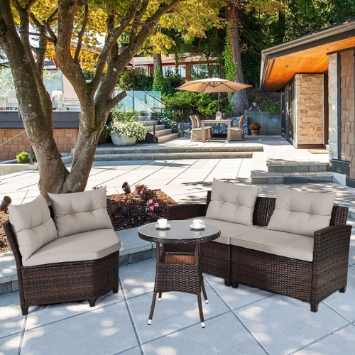 Costway 4PCS Outdoor Patio Rattan Furniture Set Cushioned Sofa Table