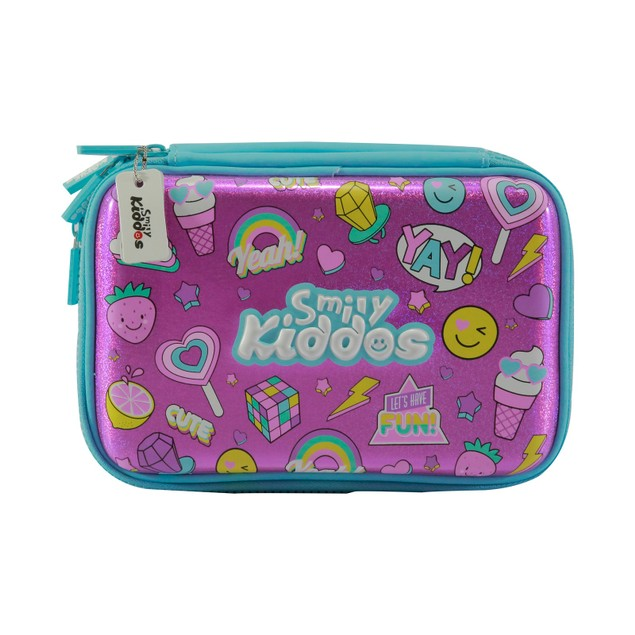 Smilykiddos Fancy Double Compartment  Pencil Case (Pink)