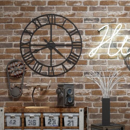 Flat Faux Brick Stone Wallpaper Roll 3D Effect Blocks Vintage Home Decoration Brown