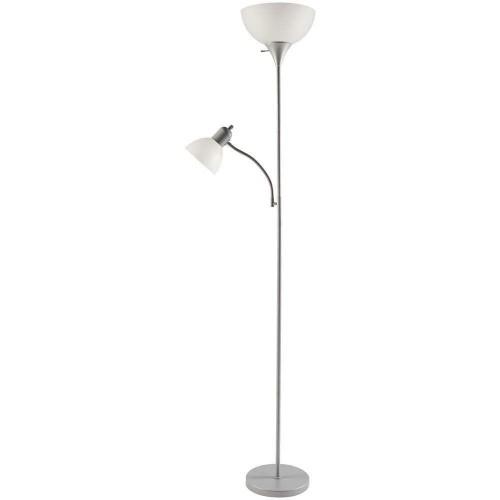 "Hampton Bay 71.5"" Adjustable Focus Floor Lamp W/ LED Bulb, Silver"