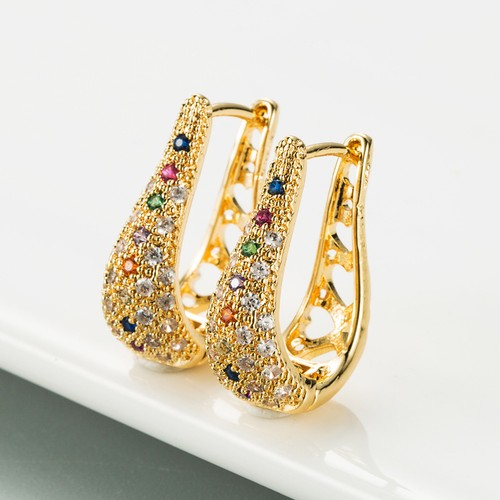 Victorian Gold English Lock Colorful Zircon Earrings