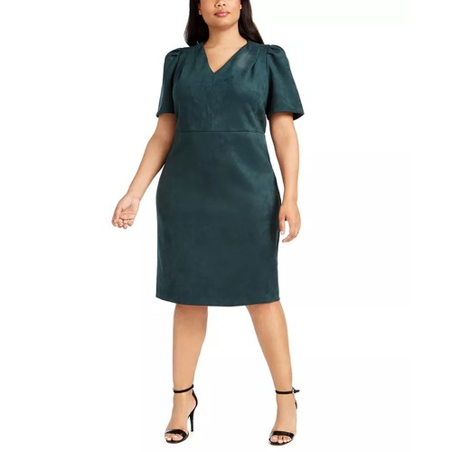 Calvin Klein Women's Plus Size Puff-Sleeve Faux-Suede Dress Green Size 20