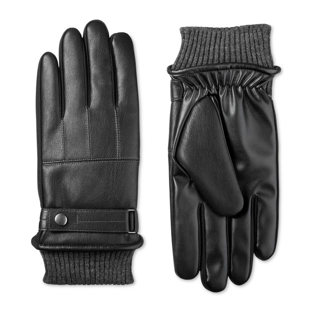 Isotoner Signature Men's Faux-Leather Sleekheat Gloves Black Size Large