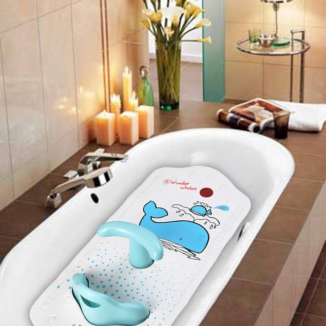 HK Infant Baby Safety Bath Support Seat Chair Sling Bather Mat (Blue)