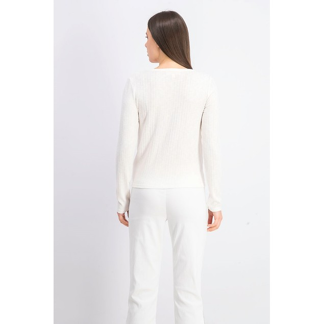 Hippie Rose Juniors' Twist-Front Button-Up Top White Size Extra Small