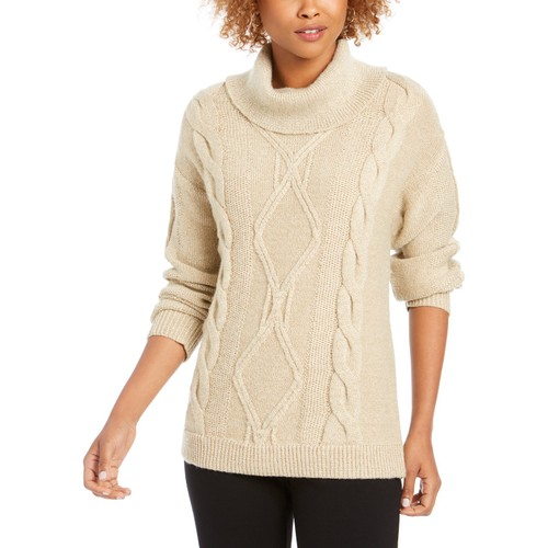Charter Club Women's Cowl-Neck Cable-Knit Glitter Sweater Brown Size Small
