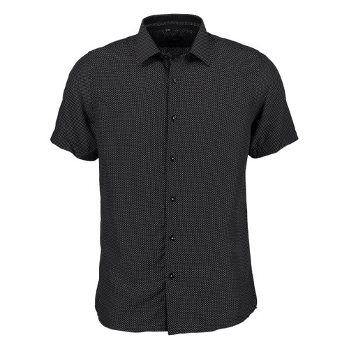 Rosso Milano Modern Fit Short Sleeve Black Houndstooth Dress Shirt