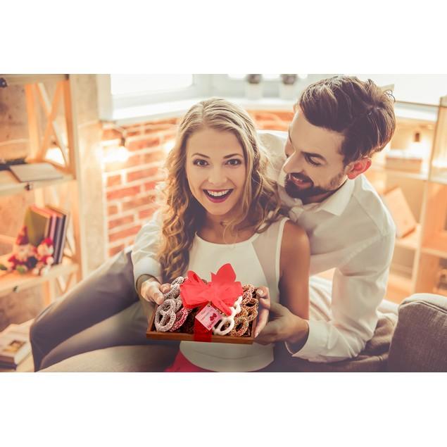 16 Dark ChocolateHand Dipped Covered Pretzels - Romantic Valentine's Tray