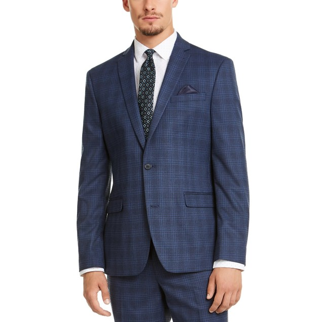 Bar III Men's Slim-Fit Stretch Blue Plaid Suit Jacket Navy Size 40
