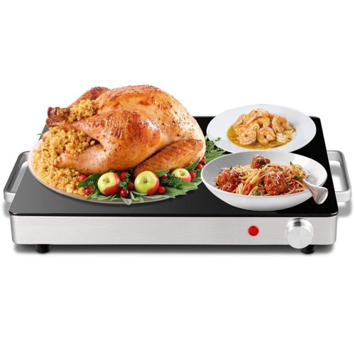 Costway Electric Warming Tray Stainless Steel Dish Warmer w/Black Glass Top