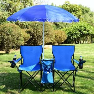 Costway Portable Folding Picnic Double Chair W/Umbrella Table Cooler Beach
