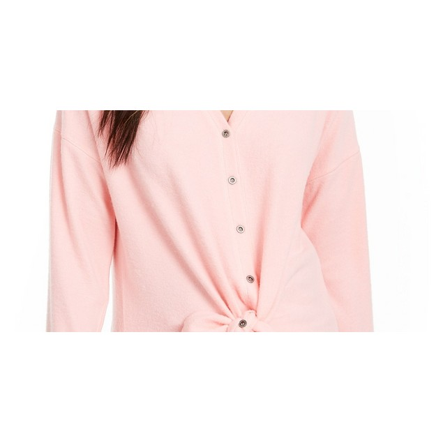 Hippie Rose Juniors' Cozy Tie-Front Shirt Dark Pink Size Extra Small