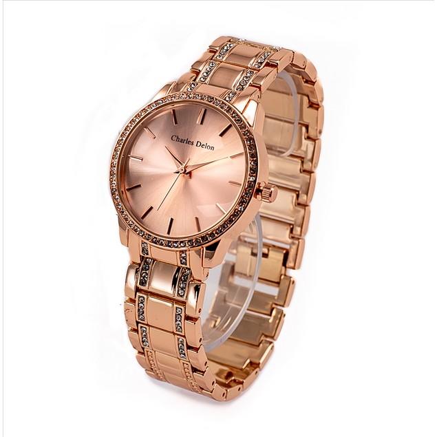 Charles Delon Women's Watch 5855 LRRW Rose Gold Stainless Steel Quartz Round