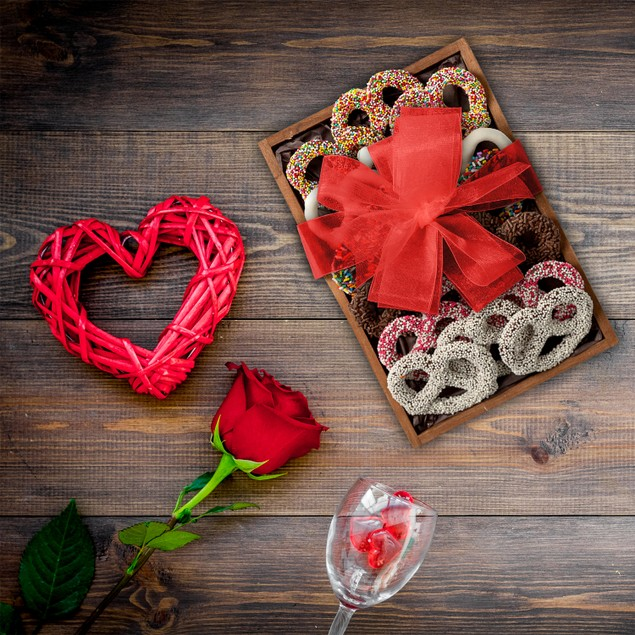16 Dark Chocolate Hand Dipped Covered Pretzels - Romantic Valentine's Tray