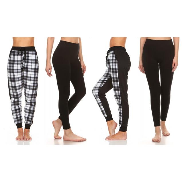 2-Pack Women's Plaid Lounge Pants & Black Fleece Leggings