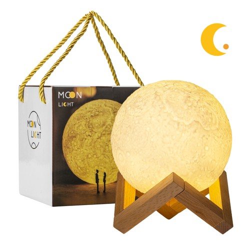 Moon Lamp, LED Dimmable Night Light, USB Rechargeable & Touch Control,