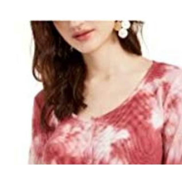 Ultra Flirt Juniors' Tie-Dye Thermal Top Red Size Medium