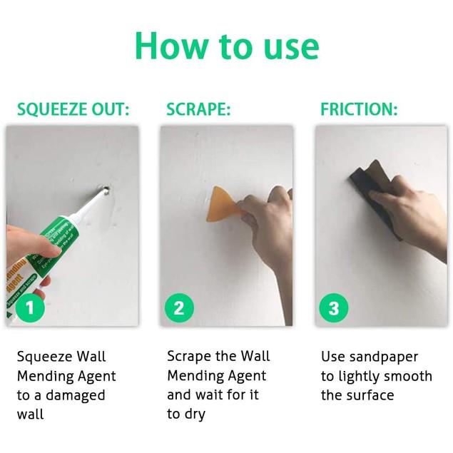 2PCS Wall Mending Agent Wall Repair Cream Hole Filler Quick & Easy Repair
