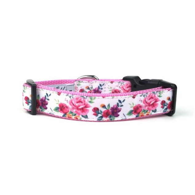 Midlee Large Rose Floral Nylon Ribbon Dog Collar (Large)