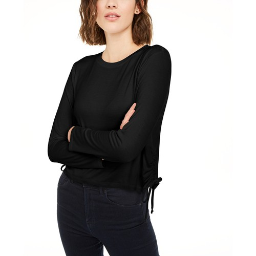 Rebellious One Juniors' Side-Ruched Top Black Size Small