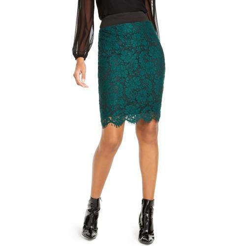 Thalia Sodi Women's Lace Pencil Skirt Green Size Large
