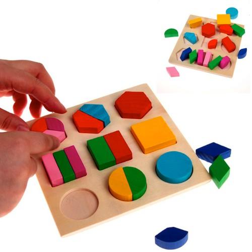 Products 20-Piece Set: Wooden Geometric Block Puzzle