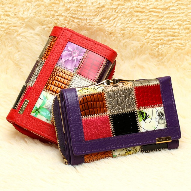 Womens Leather Wallets Coin Pocket Female Clutch Travel Wallet