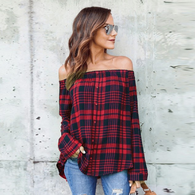 Women's Casual Plaid Off Shoulder Long Sleeve Shirt Tops Blouse