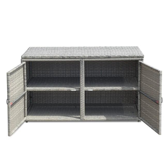 Costway 88 Gallon Garden Rattan Storage Container With Shelf