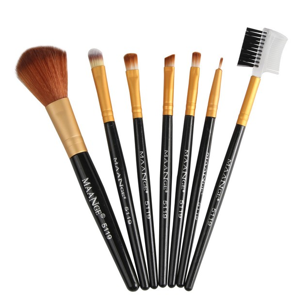 7-Piece Cosmetic Brush Set - 5 Colors