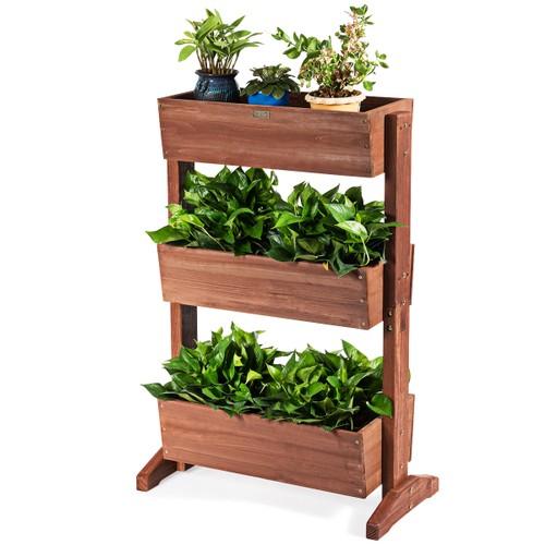 3-Tier Raised Garden Bed Vertical Freestanding Elevated Planter Patio Balco