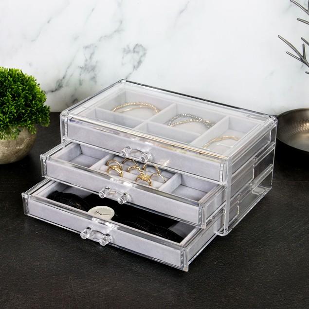 3 Drawer Acrylic Jewellery Box | Pukkr Grey