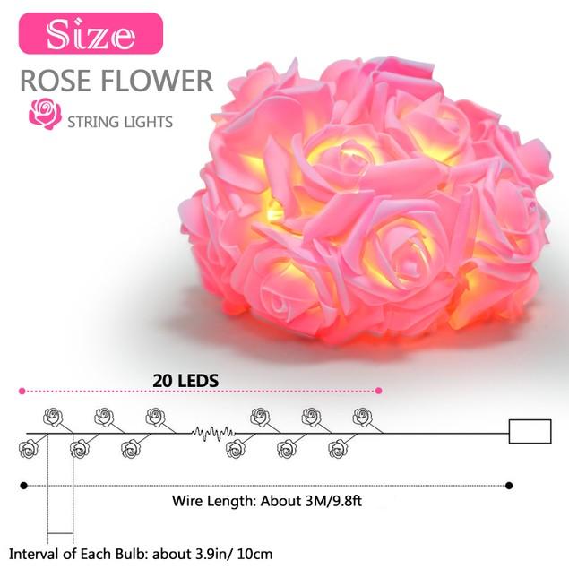 40 LEDs Rose Flower String Lights 10ft/3m Battery Operated Lamp