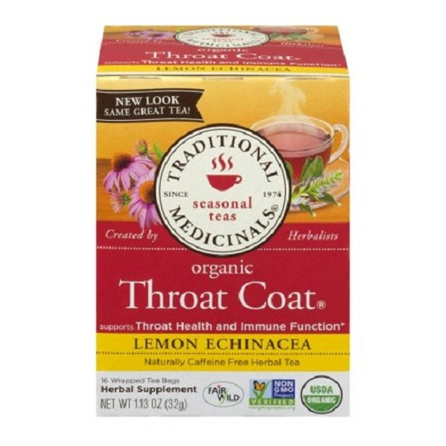 Traditional Medicinals Tea Organic Throat Coat Lemon Echinacea