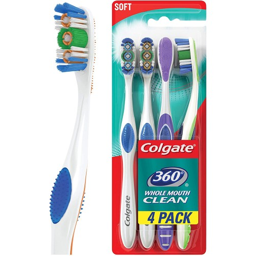Colgate 360 Toothbrush, Soft, 4 Count