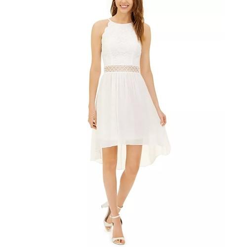 BCX Junior's Lace Top High Low Dress White Size 9