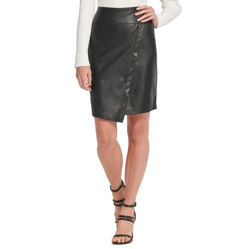 DKNY Women's Faux-Leather Skirt Black Size 10