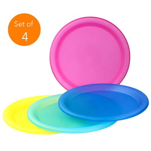4 Pc Colorful Sturdy Reusable Dinner Plates - Party BPA-Fee Plastic Plates