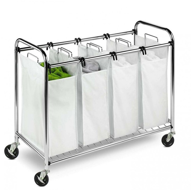 Heavy Duty Quad Rolling Laundry Sorter Hamper, Chrome/White
