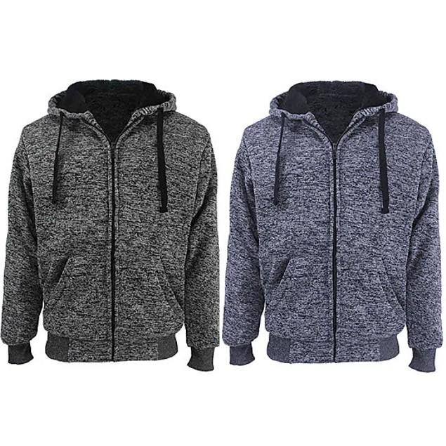 6-Piece: Men's Sherpa Lined Hoodie, 2-Piece Thermal Set, Thermal Socks