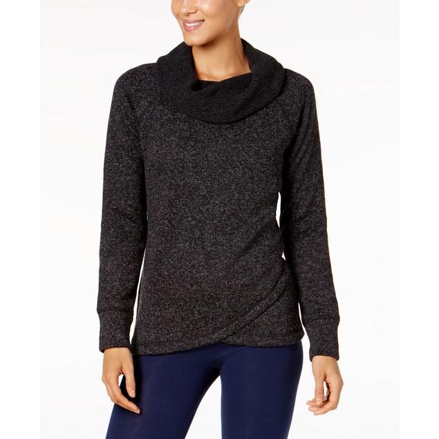Ideology Women's Cowl Neck Pullover Black Size Medium