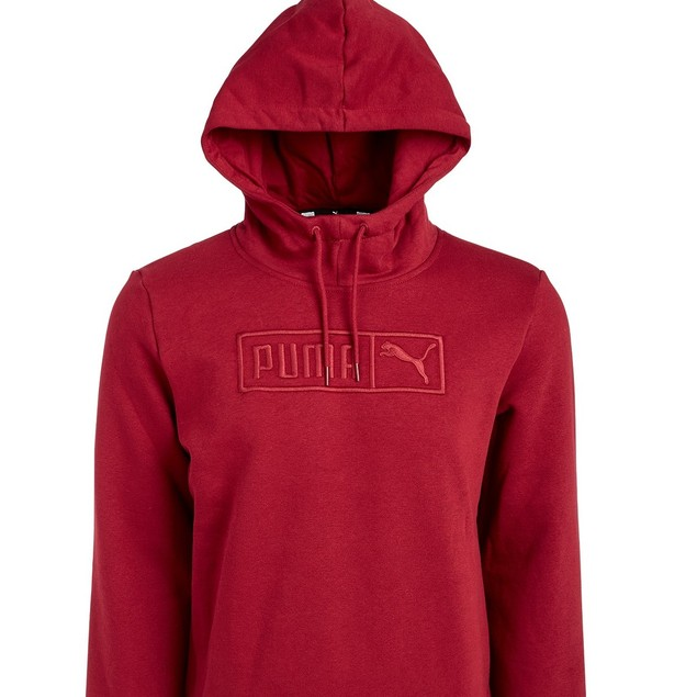 Puma Men's Embroidered-Logo Fleece Hoodie Red Size XX-Large