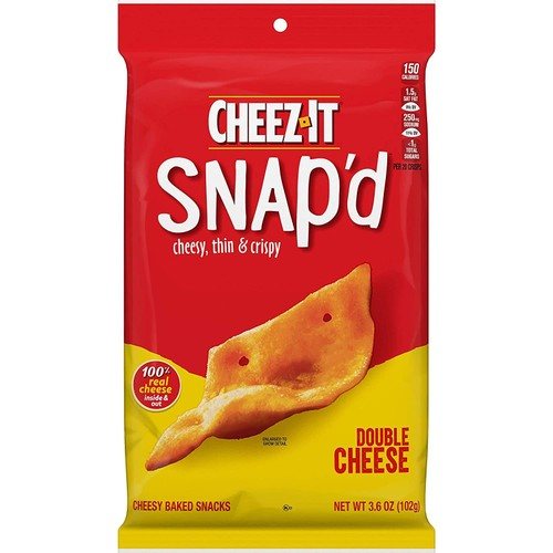 Cheez-it 100% Real Snacks Chips Contains Wheat Double Cheese Snap'd, 3.6