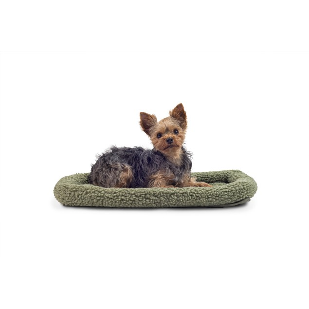 FurHaven Faux Lambswool & Sherpa Bolster Pet Bed for Kennels & Crates