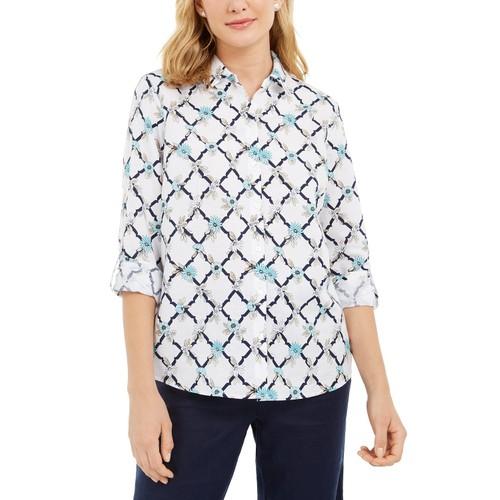 Charter Club Women's Printed Linen-Blend Shirt White Size Small