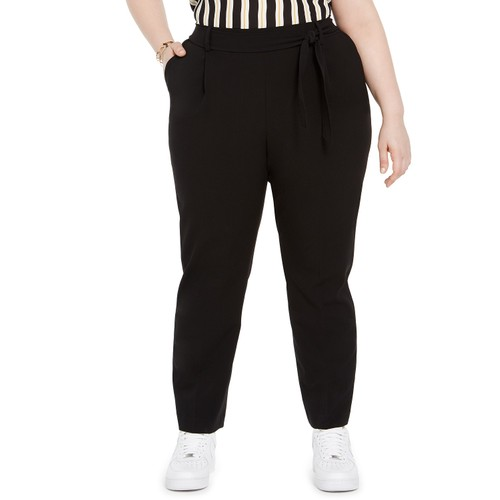 Bar III Women's Trendy Plus Tie-Waist Pants Black Size 2 Extra Large