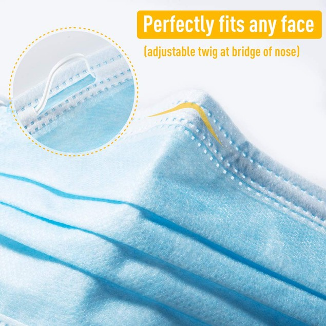 200-Pack 3-Ply Disposable Face Masks