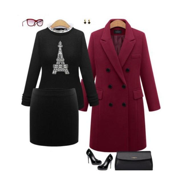 Women's Slim Mid-Length Woolen Coat