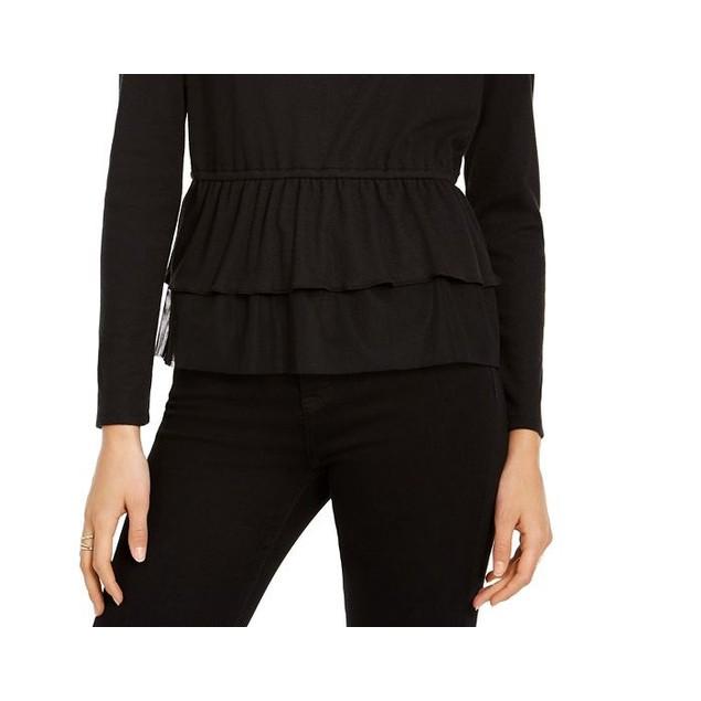 INC International Concepts Women's Tulle Peplum Top Black Size Small